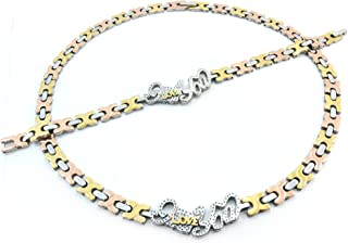 3 TONE I LOVE YOU HUGS AND KISSES NECKLACE AND BRACELET SET XOXO STAINLESS STEEL WITH DIAMOND CUTS