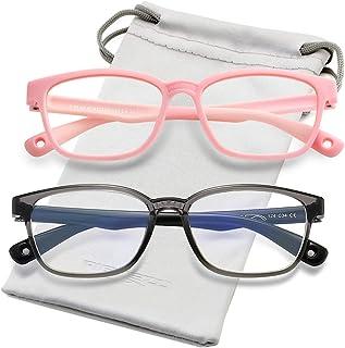 نظارات حجب الضوء الأزرق للأطفال من السيليكون إطار نظارات مربع مرن مع حبل نظارات، للأطفال من سن 3-10 (زهري ورمادي شفاف)