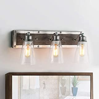 LOG BARN 3 Lights Rustic Vanity Light in Real Distressed Wood and Brushed Antique Silver Finish with Cone Clear Glass Shades, 21.3