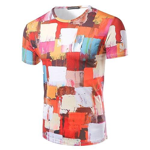 YCHENG Creativa Camisetas para Hombre Manga Larga 3D Digital Impresi/ón Traje Pajarita T-Shirt