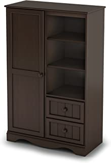 South Shore 1-Door Armoire with Adjustable Shelves and Storage Drawers, Espresso