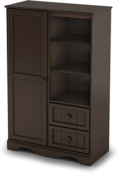 South Shore 1 Door Armoire With Adjustable Shelves And Storage Drawers Espresso