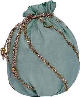 Kusum Embroidered Multi-purpose Zari Potli Bags, Diwali Gifting Bag, Gifting Bag for Return Gifting.set of 2