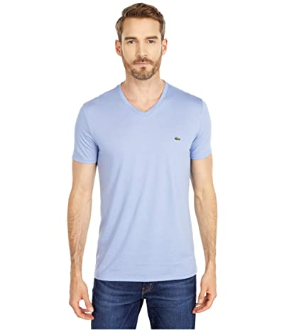 Lacoste Short Sleeve V-Neck Pima Jersey Tee (Purpy) Men