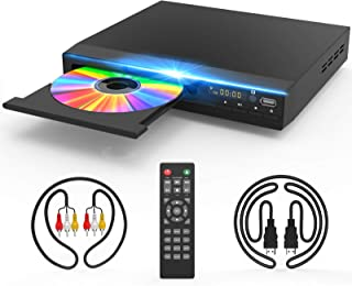 DVD Player for TV, DVD CD Player with HD 1080p Upscaling, HDMI & AV Output (HDMI & AV Cable Included), All-Region Free, Co...