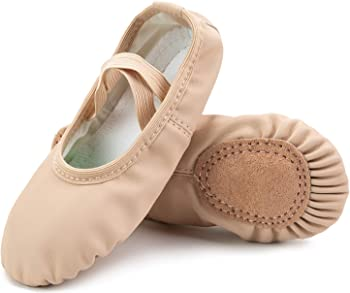 Scurtain Full Sole Girls Leather Ballet Shoes