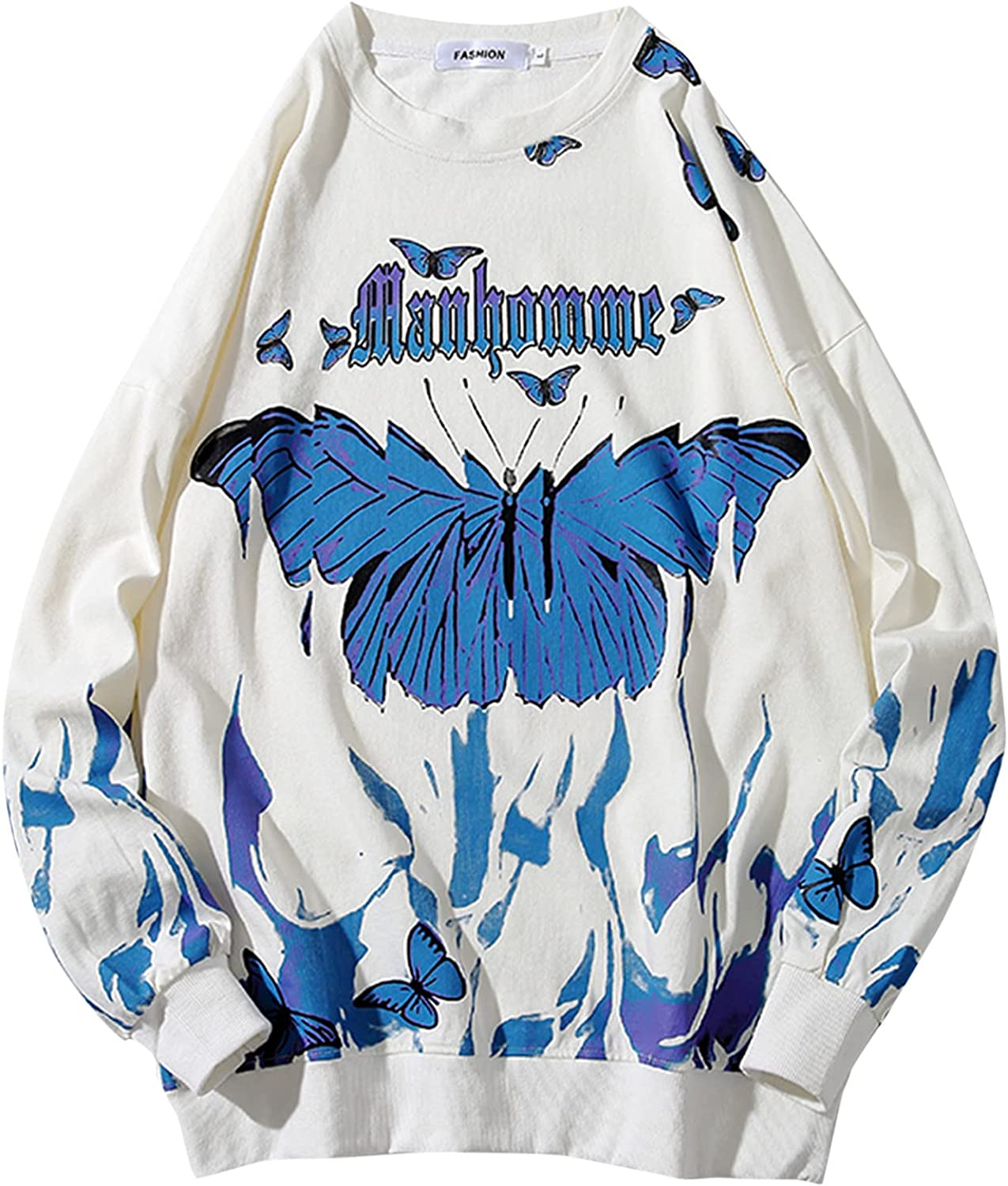 XXBR Butterflies Sweatshirts for Mens, Fall Plus Size Drape Shoulder Young Teen Boys Fashion Crewneck Pullover Tops