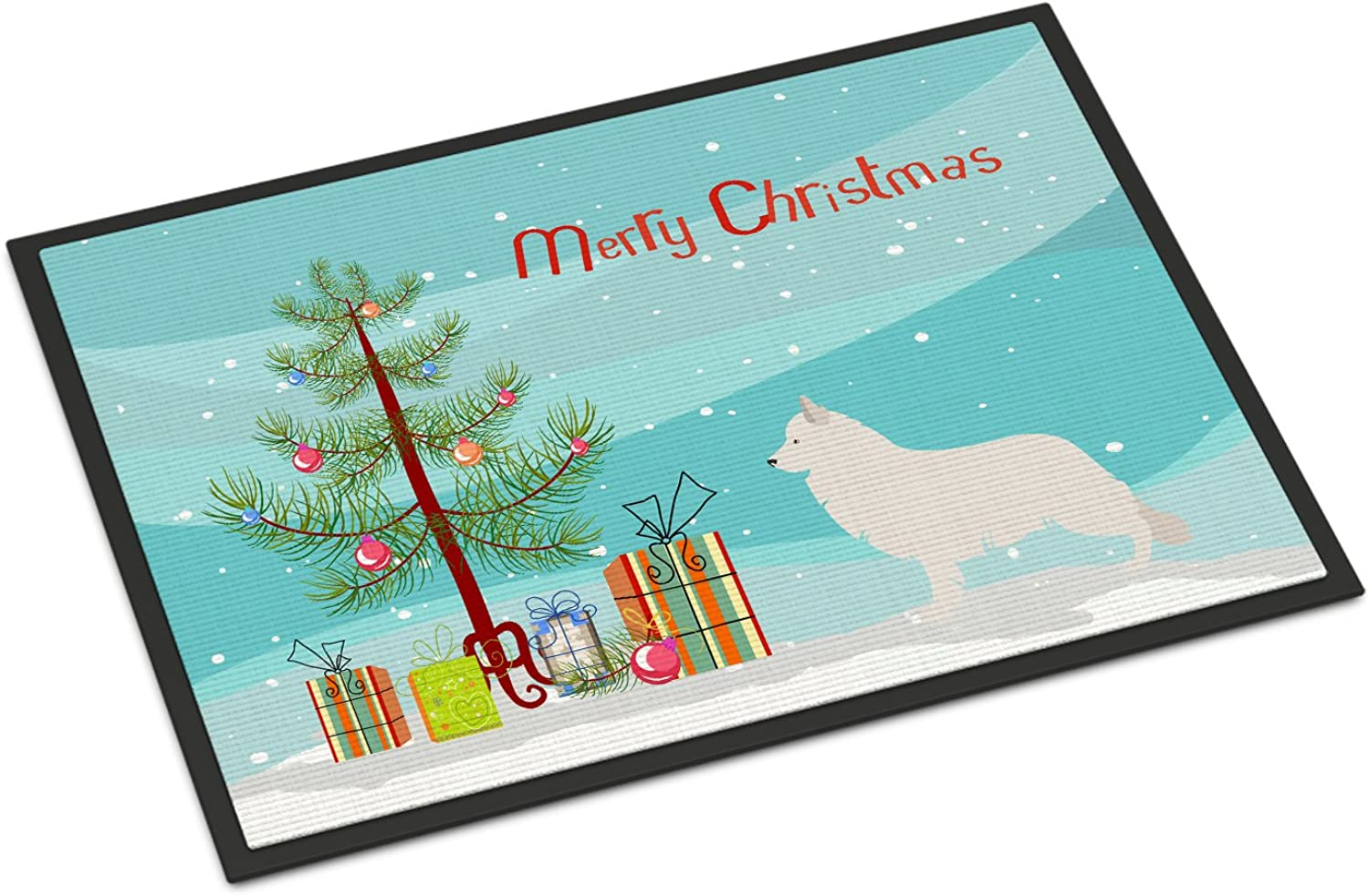 Caroline's Treasures Berger white Suisse Christmas Doormat, 18hx27w, Multicolor