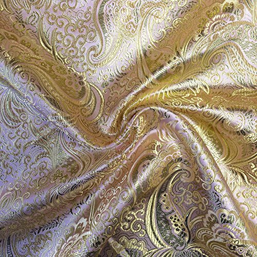 "Metallic Paisley Brocade Fabric 60"" by Yard in Red Yellow White Purple Blue (Pink/Gold)"