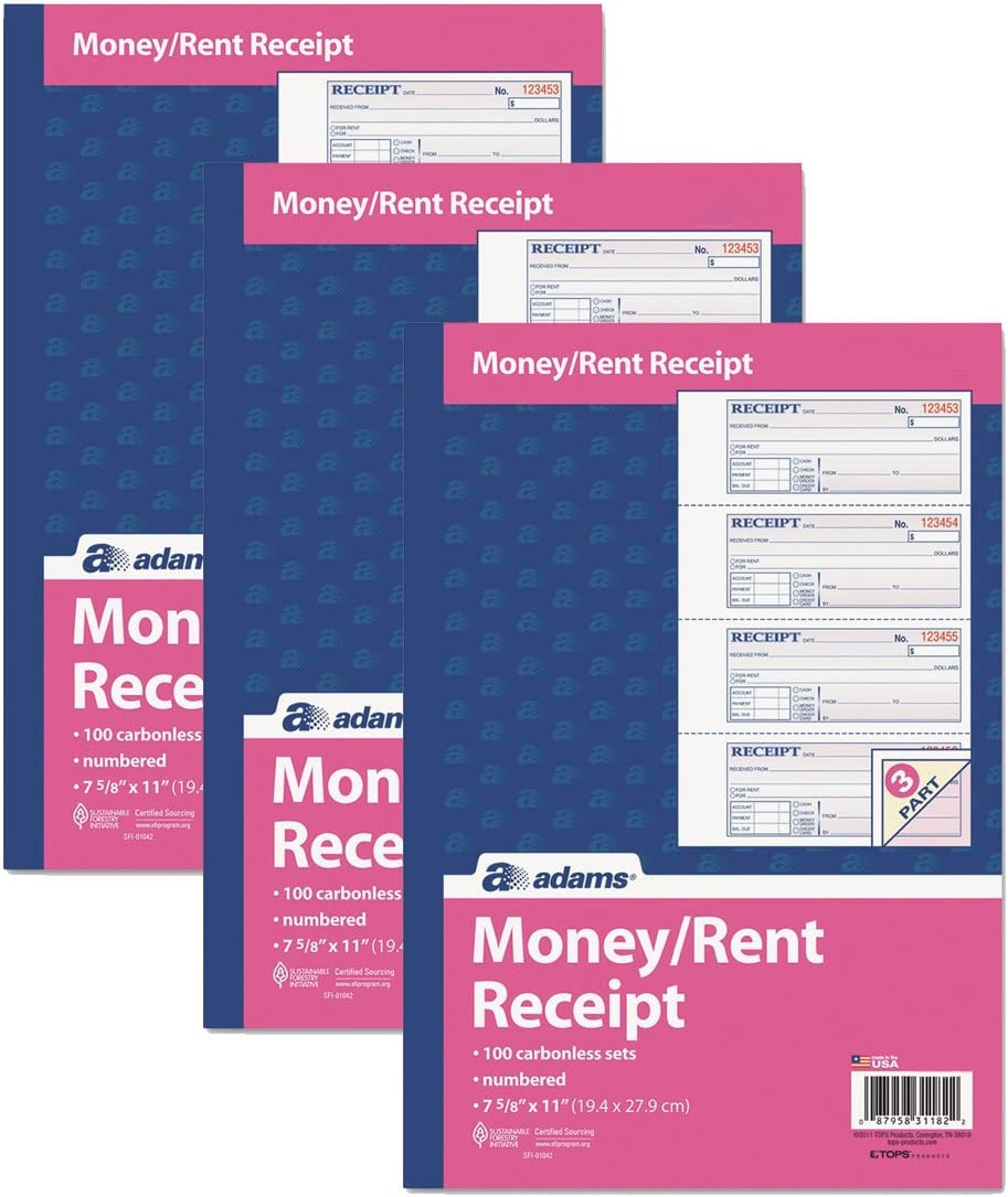 Adams Money and Rent Receipt Book Can White 3-Part Great Bargain sale interest Carbonless