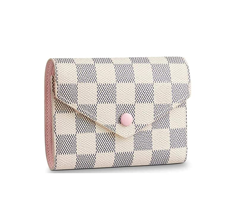 Women's Canvas Victorine Style Short Wallet With Clasp Card Bag