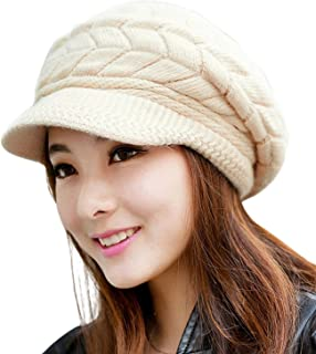 Womens Winter Beanie Hat Warm Knitted Slouchy Wool Hats Cap with Visor
