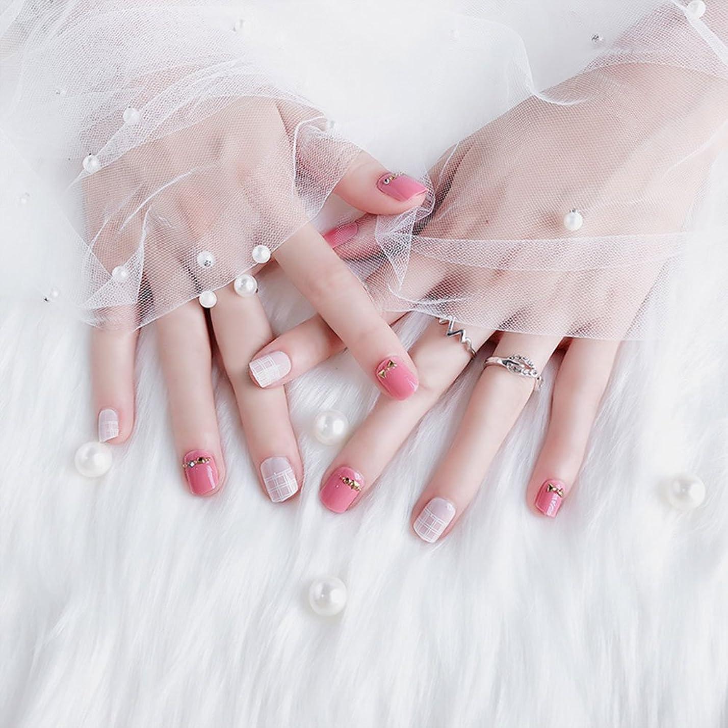 ファセット長いですスキムおしゃれなネイルチップ 短いさネイルチップ 複数のスタイル 24枚入 結婚式、パーティー、二次会などに ネイルアート 手作りネイルチップ 両面接着テープ付き (ピンク)