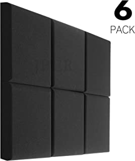 """JBER Acoustic Studio Foam, 6 Pack 2"""" X 12"""" X 12"""" Round C-Panel Sound Foam Panels Soundproofing Treatment Studio Wall Padding Sound Absorbing Fireproof Pyramid Wedge Tiles"""