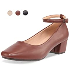 a041e59087e CINAK Low Heel Chunky Heels Dress Shoes for Women- Comfortabl .