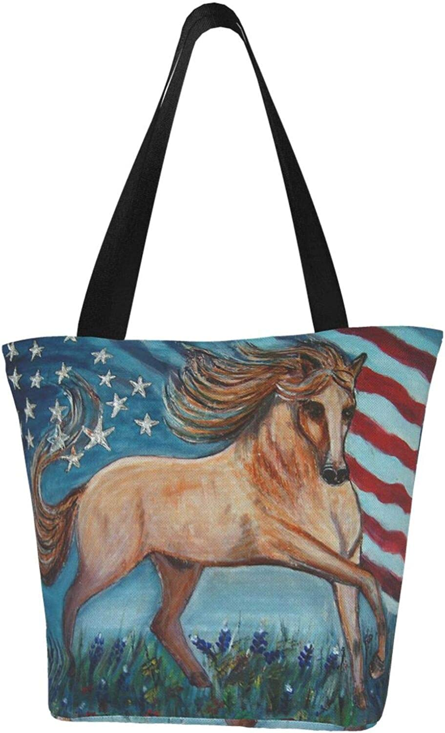 American Flag Patriot Horse Art Printed Canvas Women Themed Limited OFFicial price sale Hand