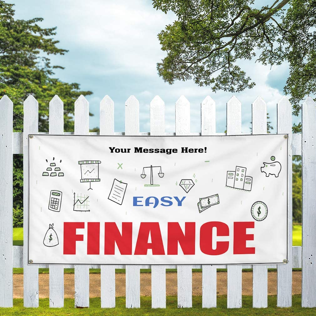 Custom Industrial Vinyl Banner Multiple Sizes Easy Finance Style D Personalized Text Here Business Outdoor Weatherproof Yard Signs Red 6 Grommets 36x90Inches