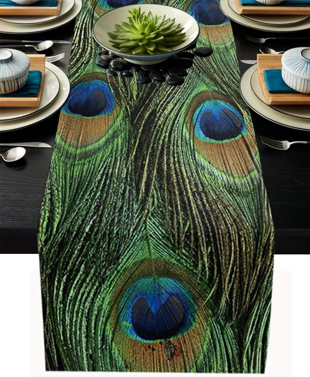 Table Runner 72 Inches Long for Dining Coffee Table, Animal Peacock Feather Texture, Burlap Rectangle Table Cloth Decor Dress Scarf Birthday Wedding Holiday Party, 18''x 72''