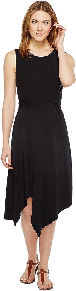 Cotton Modal Spandex Jersey Faux Wrap Tie Back Dress