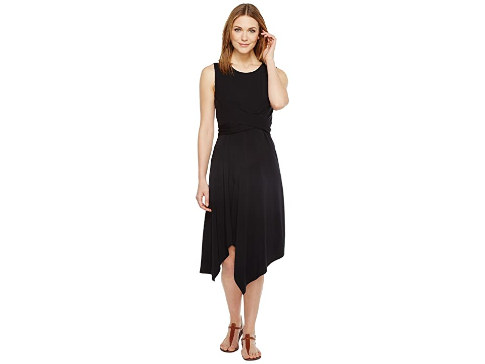 Mod-o-doc Cotton Modal Spandex Jersey Faux Wrap Tie Back Dress (Black) Women