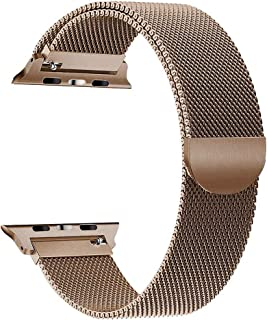 Milanese Loop Stainless Steel Alloy Watch Band for Apple Watch Series 4 40mm / Series 3 38mm, Replacement Smartwatch Metal Strap for iWatch 40mm 38mm, Gold