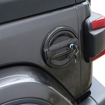 JeCar Fuel Filler Door Aluminum Gas Cap Cover Exterior Accessories for Jeep Wrangler 2018 2019 2020 JL JLU Carbon Fiber Texture