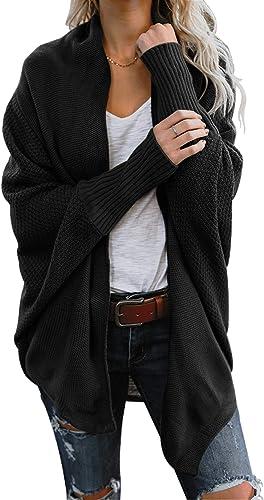 CHERFLY Women's Chunky Knit Sweater Casual Open Front Cardigan Wrap Batwing Sleeve Outwear