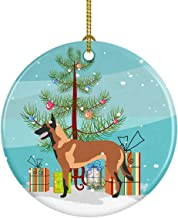 Caroline's Treasures Malinois Belgian Shepherd Christmas Ceramic Ornament, Multicolor