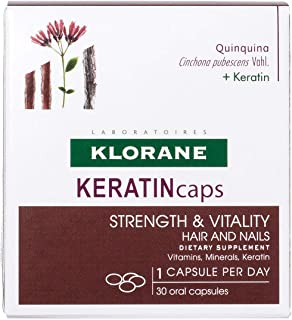 Klorane KERATINcaps Dietary Supplements with Biotin, Quinine, B Vitamins for Thicker, Stronger Hair & Nails, Caffeine-Free, 30 Day Supply