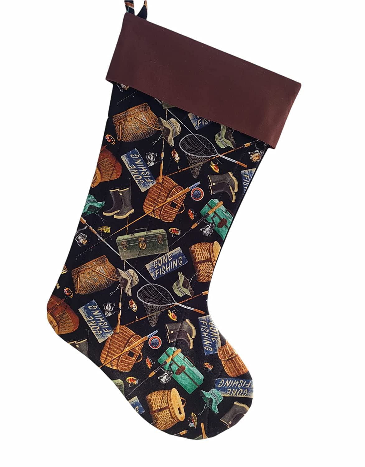 Lowest price challenge Gone Fishing Brand Cheap Sale Venue Quilted Christmas Stocking