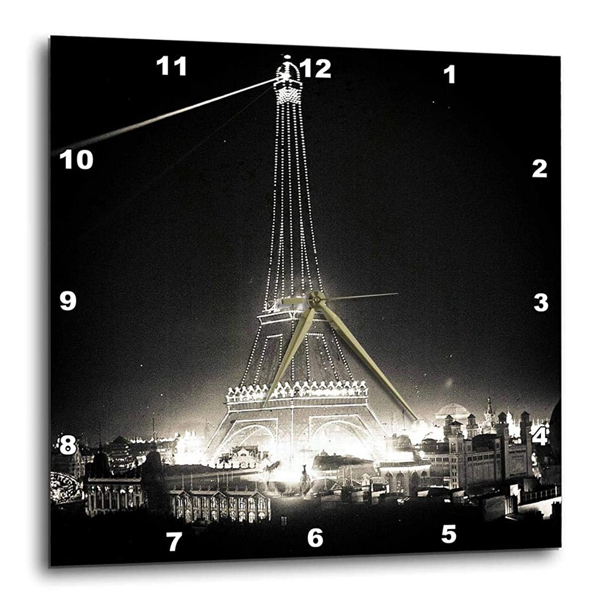 必要としている靴嫌い3dRose dpp_77379_1 エッフェル塔 イルミネーションパリ Exposition 1900 ブラック&ホワイト 壁時計、10×10インチ