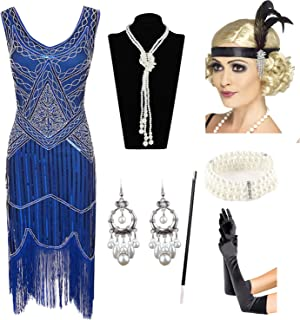 01f80a29687d11 1920s Gatsby Sequin Fringed Paisley Flapper Dress with 20s Accessories Set