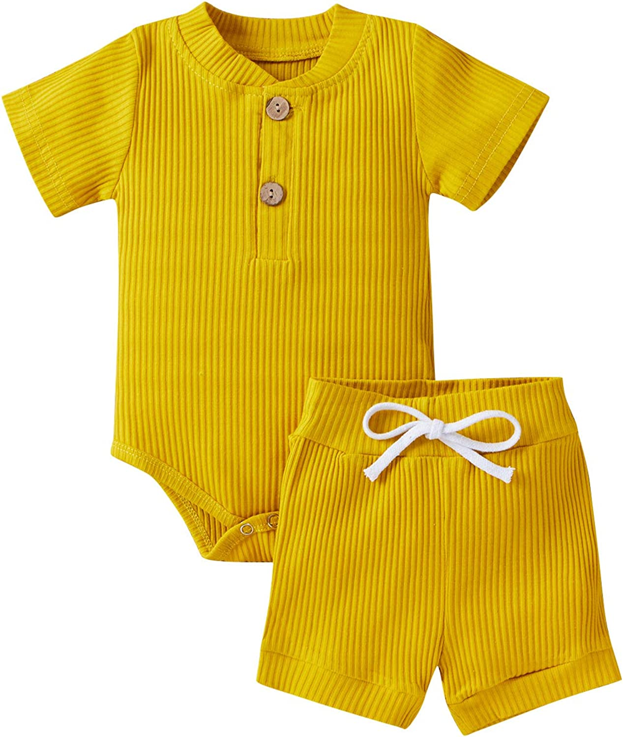 QWEP Summer Newborn Baby Boy Girl Ribbed Outfits Sleeveless/Short Sleeve Button Romper Bodysuit and Shorts Clothes 2 PCS