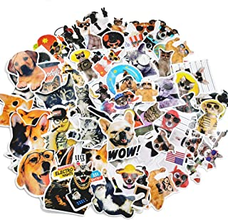 MOTOEYE Waterproof Aesthetic Cute Funny Animal Decal Cat & Dog Vinyl Stickers for Laptop,Water Bottles,Cars,Suitcases,68pcs