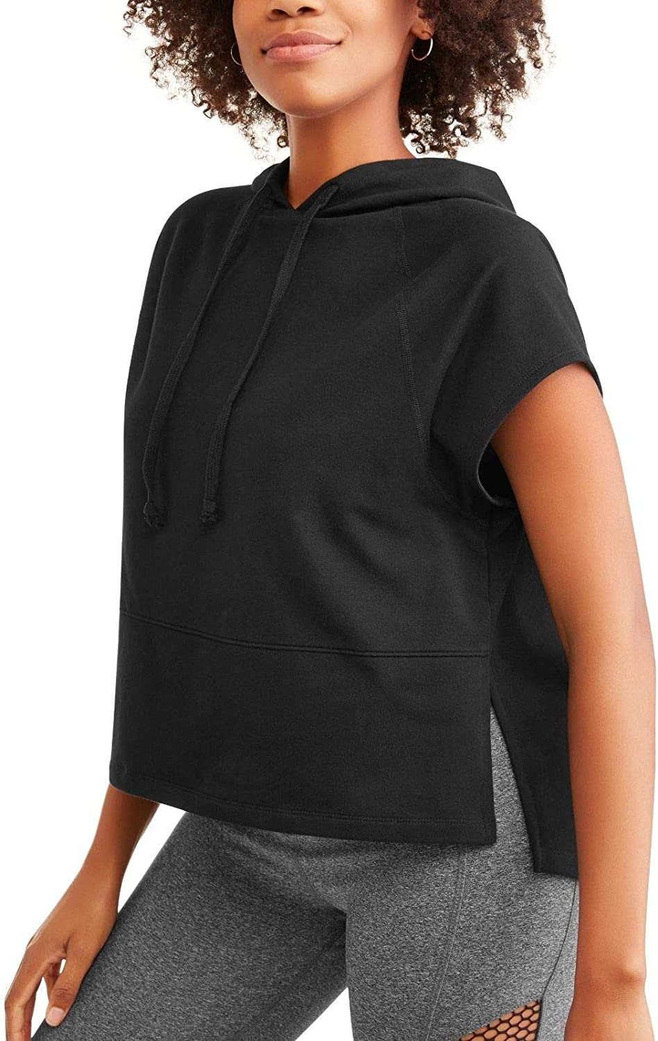 Avia Women's French Terry Short Sleeve Cropped Hoodie Top or Vest