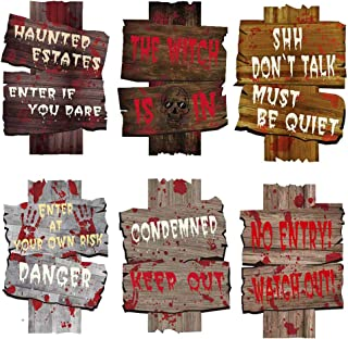 CREATESTAR 6 Pack Halloween Decorations Yard Signs Stakes Beware Props Halloween Outdoor Decor Bloody Scary Zombie Vampire...