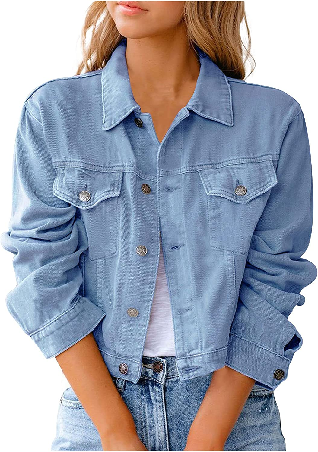 Women Denim Jacket Fashion Solid Color Button Cardigan Casual Denim Clothes Jackets and Coats