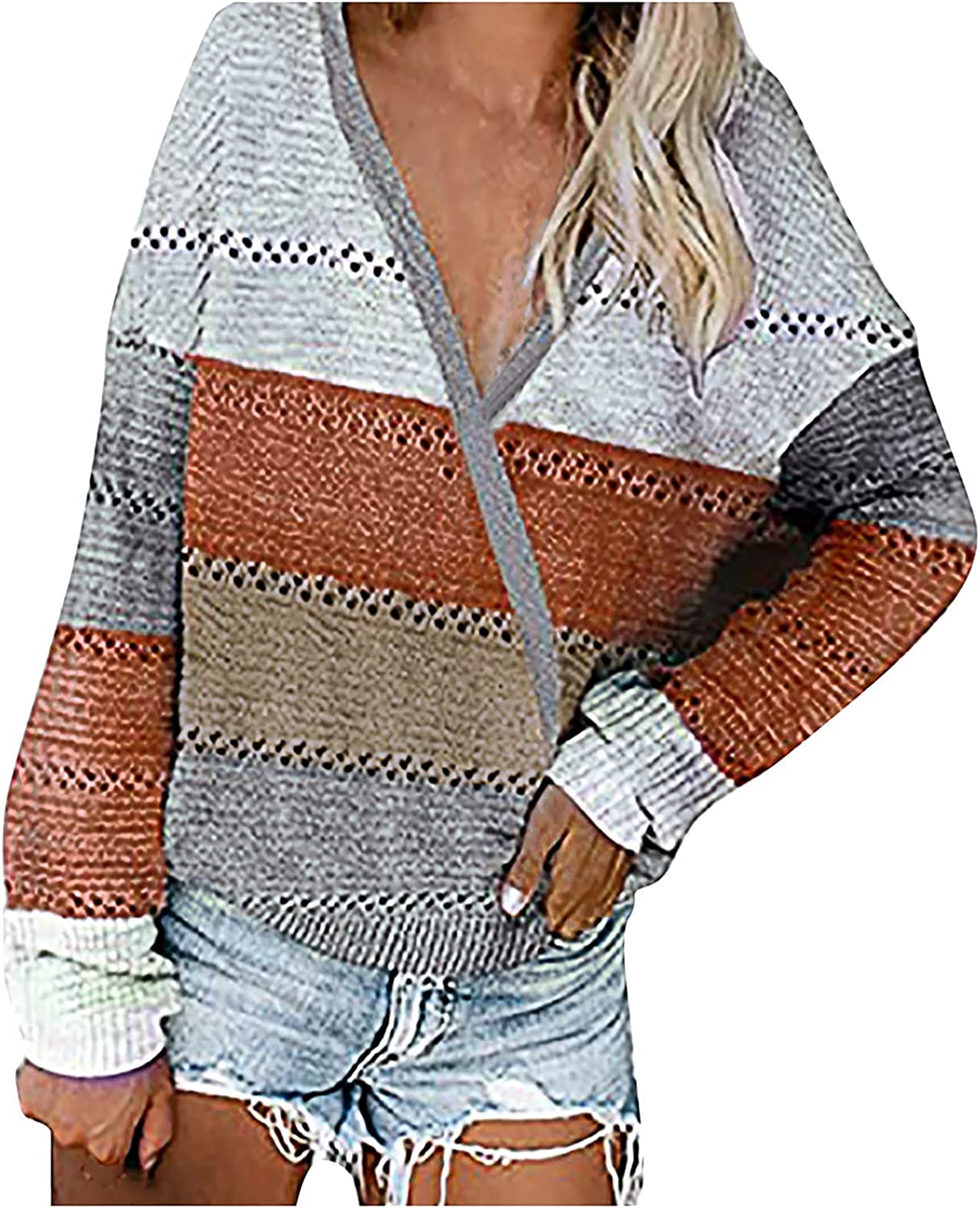 Winter Women's Long Sleeves Knit Sweater V-neck Striped Print Loose Pullover Tops Woolen Knitted Stitching Sweater