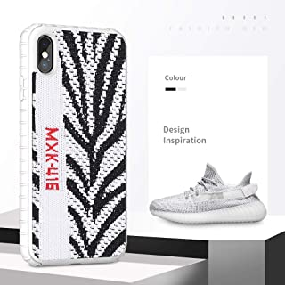 Fashion Yeezy Case for iPhone Xs Max,Hard PC+ Yeezy 350 Sneakers Material,Shock Absorbing Protective Sport Cover for iPhone 6.5 inch(Zebra White)
