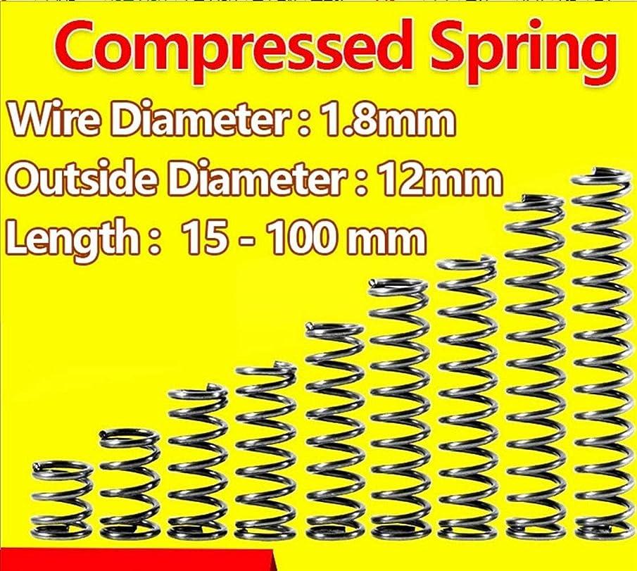 谷スリラー大きなスケールで見ると拡張スプリングス 圧力春圧縮スプリングリターン春のリリースの春ワイヤー直径1.8ミリメートル外径12ミリメートル 多目的 (Size : 40mm (10Pcs))
