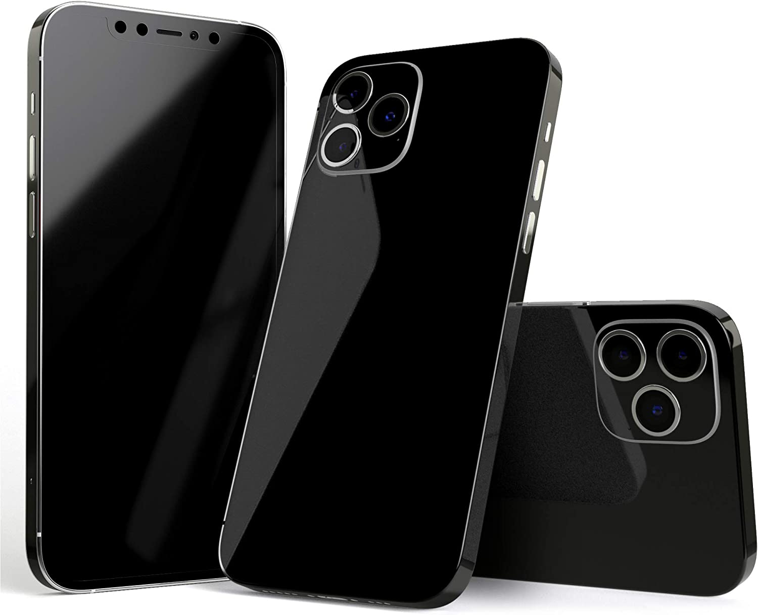 Design Skinz Solid State Black - Full Body Skin Decal Wrap Kit Compatible with The Apple iPhone XR (Full-Body, Screen Trim & Back Glass Skin)