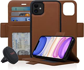 Navor Universal Car Mount & Detachable Magnetic Wallet Case with RFID Protection Compatible for iPhone 11 [6.1 inch] [Vajio Series] - Brown [IP11VJKTBR]