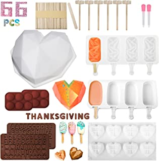 Silicone Heart Mold Chocolate Molds and Popsicle Molds, 66PCS Diamond Heart Shaped Cake Mold with Ice Cream Mold, Non-Stic...