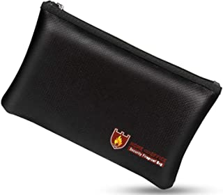 Fireproof Money Safe Document Bag. NON-ITCHY Silicone Coated Fire & Water Resistant Safe Cash Bag. Fireproof Safe Storage ...