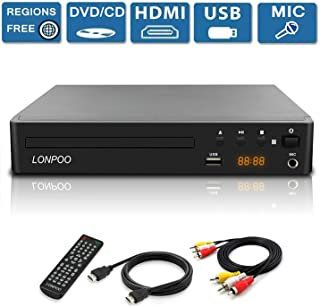 LONPOO All Region Free DVD Player,Compact HD DVD CD Player for TV with HDMI 1080P Upscaling,Built-in PAL/NTSC System, AV Output, USB2.0 Port Input, Mic Port,Not Blu-ray DVD Player