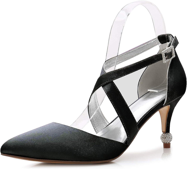LLBubble Women Kitten Heels Satin Formal Party Dress shoes Pointed Toe Cross Strap Buckle Wedding Bridal Ladies Pumps 17767-48