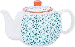 Nicola Spring Patterned Porcelain Teapot - 820ml (27.7oz) - Blue/Orange Print Design