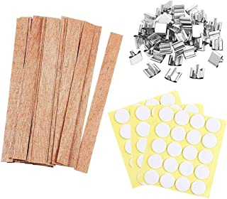 Eage 50 Pieces Smokeless Wooden Candle Wicks-Eco Friendly and Natural Wood Wicks for Candle Making Clean Burning Wood Candle Cores Perfect Beautiful Flame