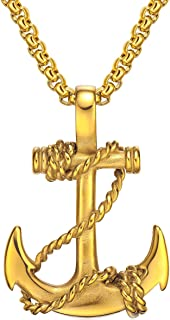 Men's Stainless Steel Sailor Rope Anchor Pendant Necklace