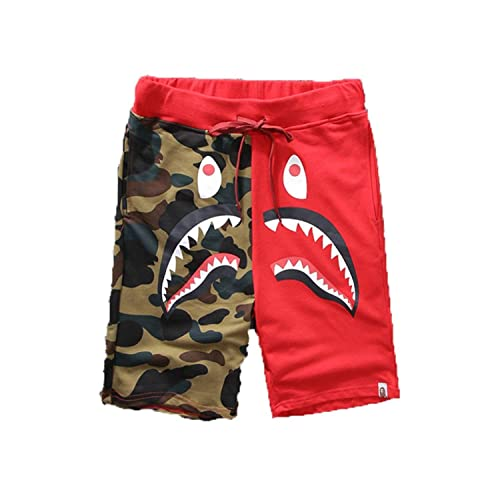 77eb1336e2cd3 Athletic Pants Shark Pattern Camouflage Stitching Shorts Men Drawstring  Sports Shorts
